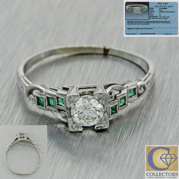 1930s Antique Art Deco 18k White Gold .57ctw Diamond Emerald Engagement Ring EGL