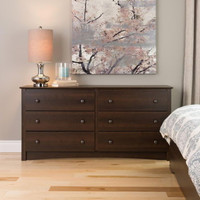 Contemporary Six-Drawer Dresser Metal Glides Bedroom Furniture Espresso Finish