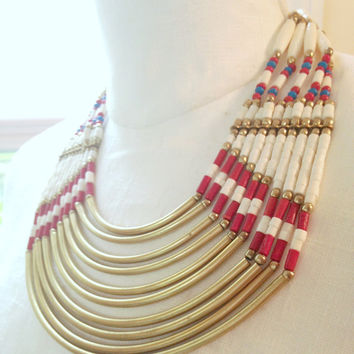 Large Tribal  Collar Necklace Brass Tube Beads Red White Blue