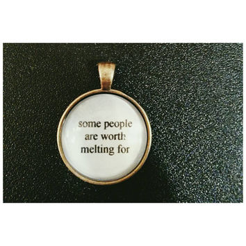 Olaf Frozen movie quote necklace- some people are worth melting for