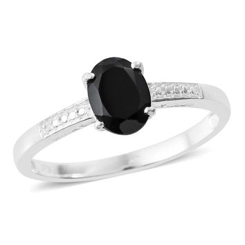 Thai Black Spinel Sterling Silver Solitaire Ring TGW 1.75 cts