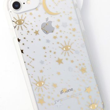 Cosmic Clear and Gold Star Print iPhone 6s, 7, and 8 Case