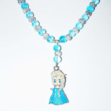FROZEN Elsa Necklace, Elsa necklace, blue Elsa necklace, white elsa necklace, elsa bead necklace, child necklace, girl necklace, party favor