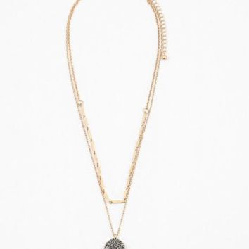 Black Stone Gold Disk Necklace