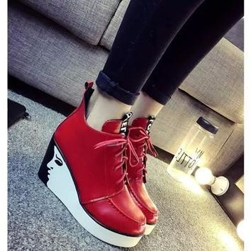 Hot Sale 2Colors Woman's Fashion High Heel Casual Sneakers [8238486599]