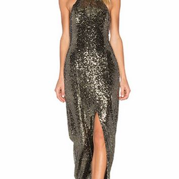 Beauty Queen Gold Sequin Sleeveless Backless Halter Slit Front Maxi Dress Gown