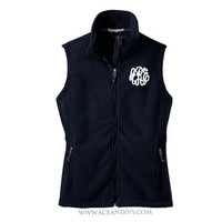 Monogrammed Fleece Vest - Navy