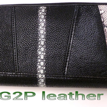 Womans Black Stingray Leather and snake skin purse