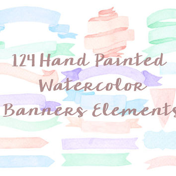 Banner Package Watercolor Clip Arts Purple Pink Blue Green Border Ribbon Wedding Invitation Birthday Party Nursery Clipart Digital printable