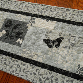 Quilted Table Runner with Butterflies in Shades of Gray Blue and Black - Butterfly Table Runner - Black and White Table Top Quilt