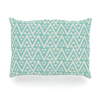 "Amanda Lane ""Geo Tribal Turquoise Sky"" Teal Aztec Oblong Pillow"