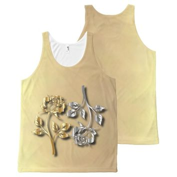 Two Golden And Silver Roses With Shadows All-Over Print Tank Top