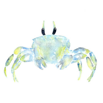 Watercolor painting, beach painting, beach art, tropical decor, watercolor animals, ocean, watercolor crab, crab painting, blue, 7X5 print