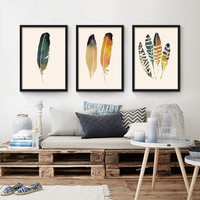 Hand Painted colorful Feather Paintings Wall Painting Picture on Canvas Abstract Decor Feather Modern Oil Painting Hang Pictures