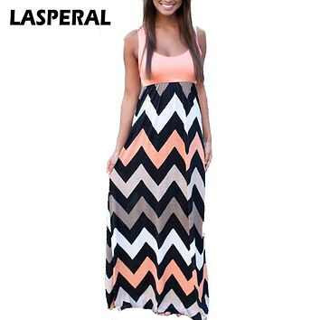 LASPERAL 2018 Women Summer style Beach Long Dress fashion patchwork Striped Print sexy Maxi sundress Feminine vestidos clothes