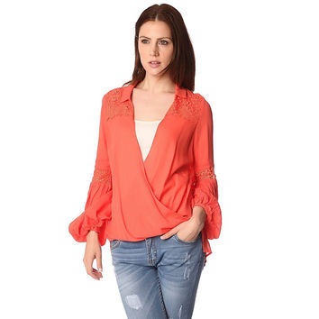 Orange Blouse w Wrap Front & Draped Detail