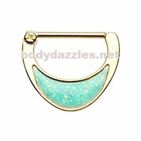 Pair of Golden Opal Sparkle Inlay Nipple Clicker Nipple Barbell Ring Nipple Piercing 14ga Surgical Steel Body Jewery
