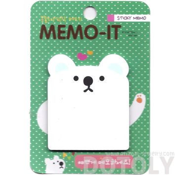 White Polar Bear Shaped Memo Sticky Post-it Note Pad | Animal Themed Stationery