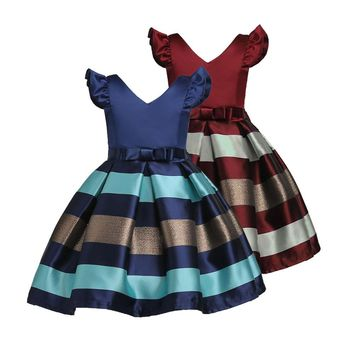 Girl's Bow-knot Satin Pageant Princess Dress