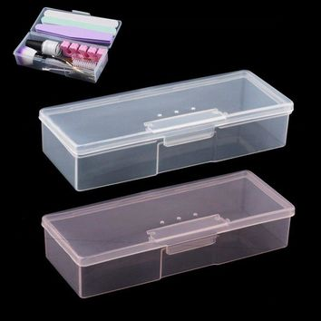 1Pc Plastic Transparent Nail Tools Storage Case Nail Dotting Drawing Pens Buffer Grinding Files Organizer Container Box TDS-22##