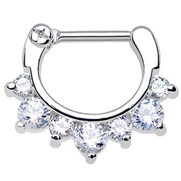 "BodyJ4You Septum Clicker 14 Gauge 3/8"" Seven Clear Cubic Zirconia Piercing Jewelry"