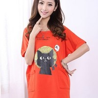 Kawaii Loose Lovely Cat Printing Pocket T-shirt - Blue or Orange - M L XL from Tobi's Finds