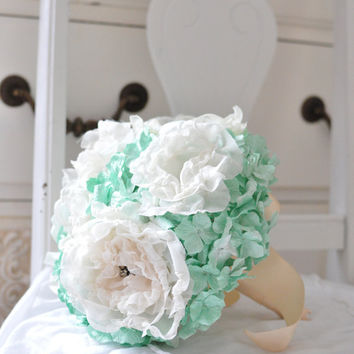 Retro romance mint paper flower bouquet, bridesmaids creamy fabric flowers among mint paper hydrangea and peach ribbon