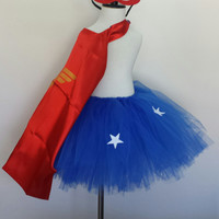 Super Wonder Girl Inspired Tutu with Cape and Masks