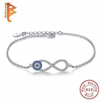 Sterling Silver Cubic Zirconia Evil Eye & Infinity Charm Bracelet with Link Chain