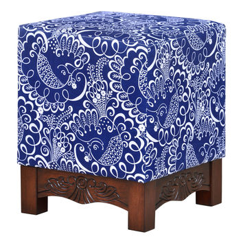 Bethesda Blue and White Square Foot Stool/Ottoman