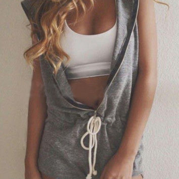 Grey Hooded Sleeveless Drawstring Zipper Romper