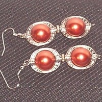 Bronze Pearls and Silver Pierce Earrings