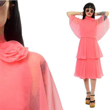 vintage 70s pink chiffon midi dress sheer tiered romantic cocktail dress flowy pastel cape avant garde ultra draped Miss Eliette Small