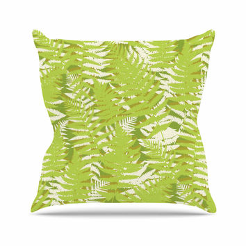 "Jacqueline Milton ""Fun Fern - Green"" Green Floral Throw Pillow"