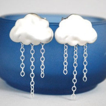 Rain Cloud Earrings Silver Chain