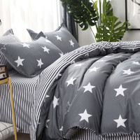 1.5m 4Pcs Stars & Striped Print Bedding Set -SheIn(Sheinside)