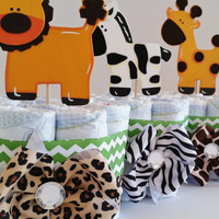 Safari Baby Shower Center Pieces, Mini Safari Diaper Cakes, Jungle Diaper Cakes, Baby Shower Decor