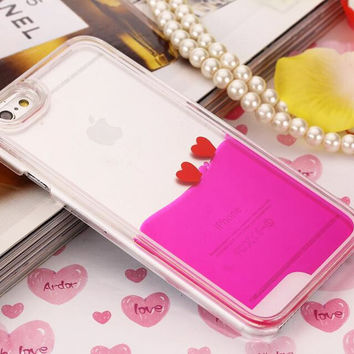 Heart Dynamic Hot Pink Liquid Glitter Sand Quicksand Star Bling Clear iPhone case Phone Case