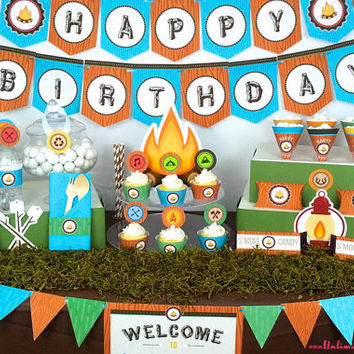 PRINTED Camping Party Kit - Camping Birthday Party Decorations