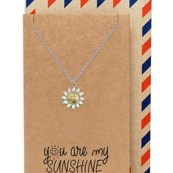 Finley You are My Only Sunshine Necklace for Women with Inspirational Quote, Two Tone