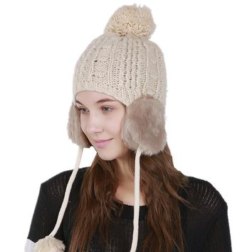 New Earflap Winter Hat Women Pom Pom Beanies Knitted Hats Fashion Woolen Crochet Knit Warm Cap Girls Cute Skullies Beanie Caps