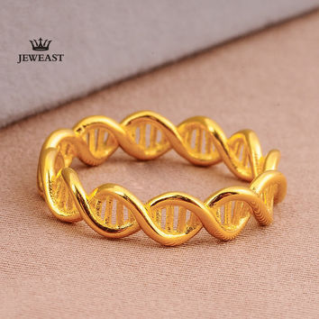DNA Double Helix Structure Ring 18K Gold Rose Gold and Platinum Men and Women Couples Creativity To Quit Custom JEWEAST