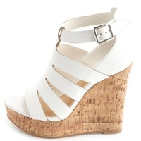 LASER CUT-OUT PLATFORM WEDGE SANDALS