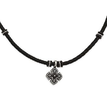 Men's Stainless Steel Polished Black IP Cross Braided Black Leather Necklace