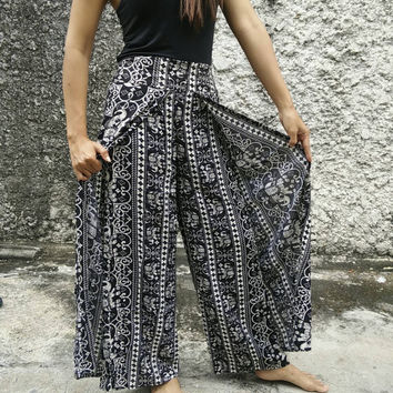 Black Palazzo Pants Elephants Print Elegant Boho Bohemian Gypsy Tribal Aladdin Clothing Beach Casual Tank Trousers Dress Wild Legs Hobo