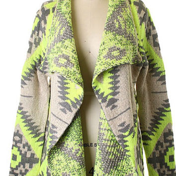 Fall Adventure Cardigan - Neon Lime