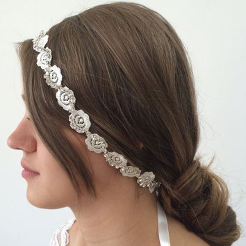 Bridal Hair Wrap, Rose Bridal Headband, Rhinestone Hair Jewelry, Boho Lace Embroidered Wedding Headband, Bridal Headpiece, ReddApple
