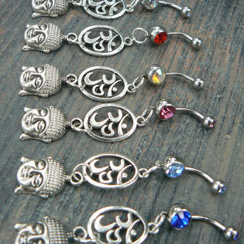 buddha ohm belly ring oval ohm symbol ONE