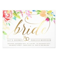 Watercolor Roses & Gold Diamond Ring Bridal Shower Card