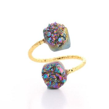 Double Stone Raw Druzy Ring